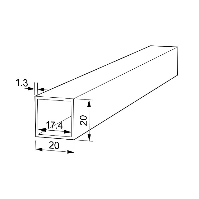 RECTANGLE ALUMINUM PROFILE 20x20 ANODIZED 1.3 THICKNESS